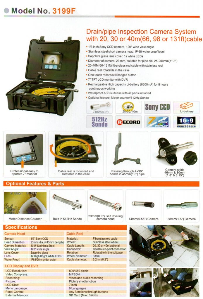 3199F-23mm Sewer Pipe Inspection Camera System